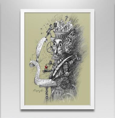 Стимпанк гаджет - Постер в белой раме, робот