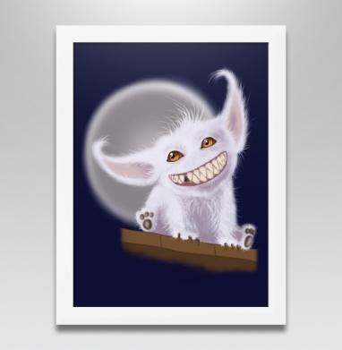 Постер в белой раме - Милый зубастик