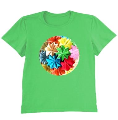 Футболка мужская ярко-зеленая - Оригами в красках