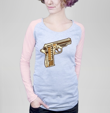 Gun - Футболка женская с длинным рукавом серый меланж/розовая