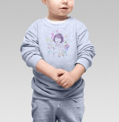 Девочка с барашком и рождественскими конфетами - Купить детские свитшоты нежность в Москве, цена детских свитшотов нежность  с прикольными принтами - магазин дизайнерской одежды MaryJane