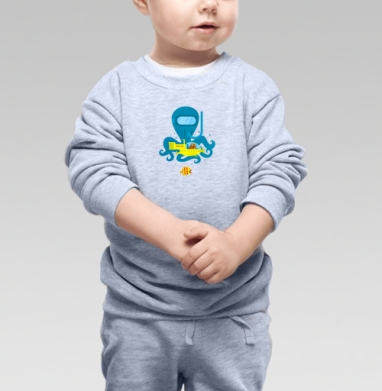 Cвитшот Детский серый меланж - Кот-835