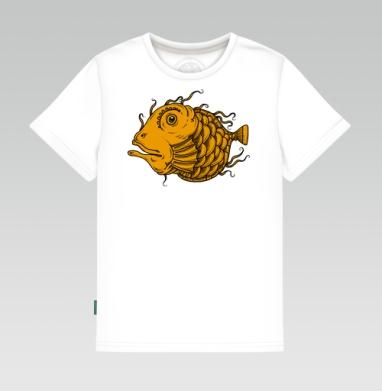 Детская футболка белая 160гр - Рыба