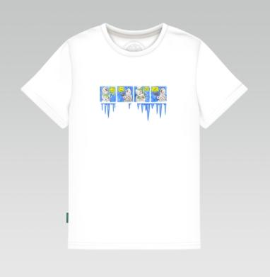 Детская футболка белая 160гр - Снеговик