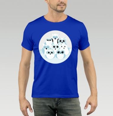 Футболка мужская синяя - Зимние совы