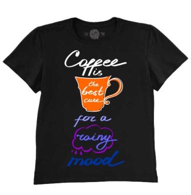 Футболка мужская чёрная - Coffee is the best cure for a rainy mood!