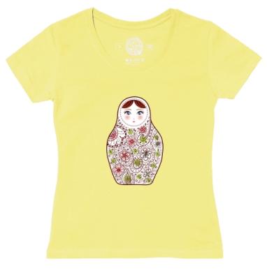 Футболка женская желтая - матрешка с цветочным орнаментом