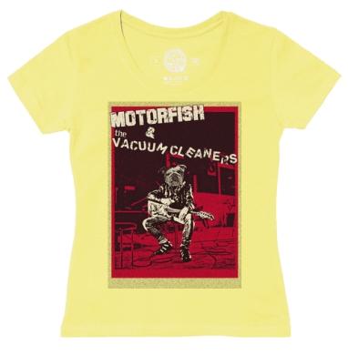 Футболка женская желтая - Motorfish and the Vacuum Cleaners