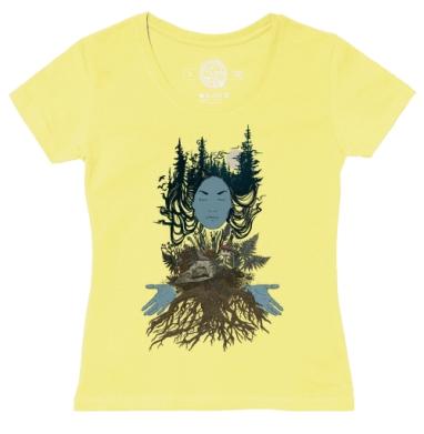 Футболка женская желтая - Сосновый лес