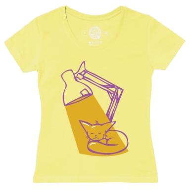 Футболка женская желтая - Мурча греется