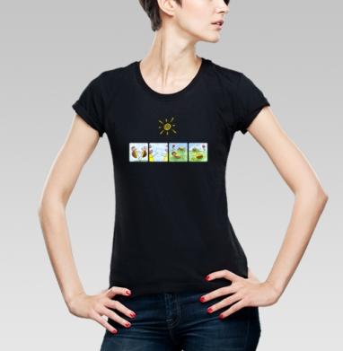 Футболка женская чёрная - Черепахи
