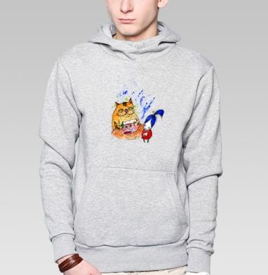 Анфиса и кошка 2 - Толстовка мужская, накладной карман серый меланж, Магазин футболок anfisa, Новинки
