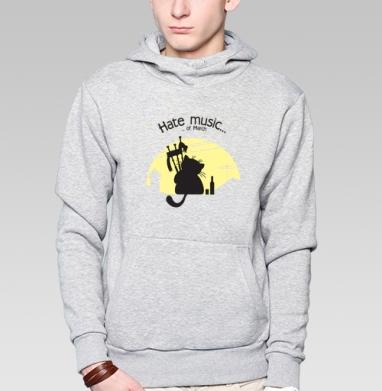 Толстовка мужская, накладной карман серый меланж - Bagpiper