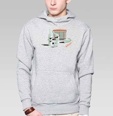 Толстовка мужская, накладной карман серый меланж - Drunken Bottles