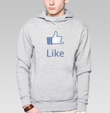 Толстовка мужская, накладной карман серый меланж - LIKE