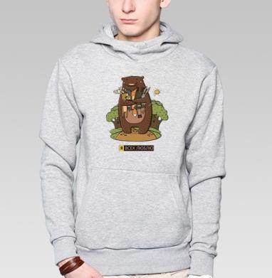 Любвеобильный медведь - Заказать толстовку Москва через интернет. Каталог принтов на толстовке Москва.