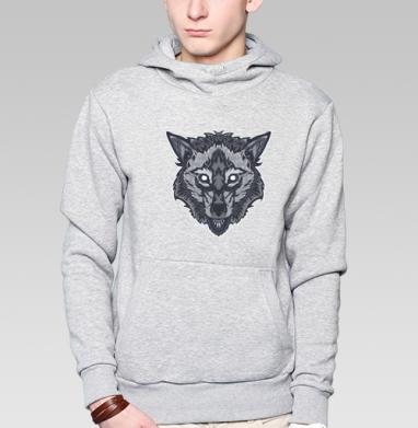 Оскалившийся волк - Толстовка серая с капюшоном, цвет