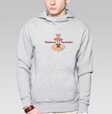 Толстовка мужская, накладной карман серый меланж - Perpetuum Psychedelic