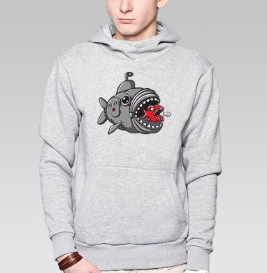 Подводная охота рыбалка , Толстовка мужская, накладной карман серый меланж
