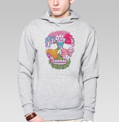 Толстовка мужская, накладной карман серый меланж - психоделический череп