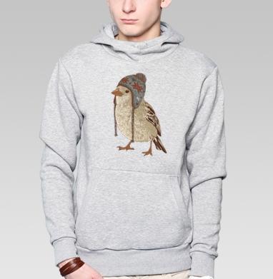 Птица в шапке - Купить толстовку с капюшоном мужскую