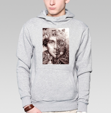 Там, куда уходит он - Толстовка мужская, накладной карман серый меланж, Жизнь