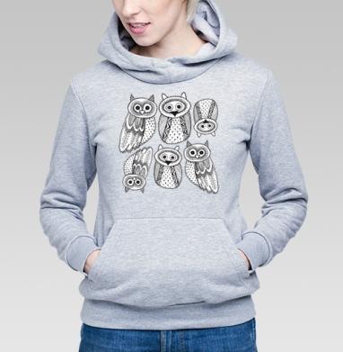 Черно-белые рисованые совы  - Купить детские толстовки с илюстрациями в Москве, цена детских толстовок с илюстрациями  с прикольными принтами - магазин дизайнерской одежды MaryJane