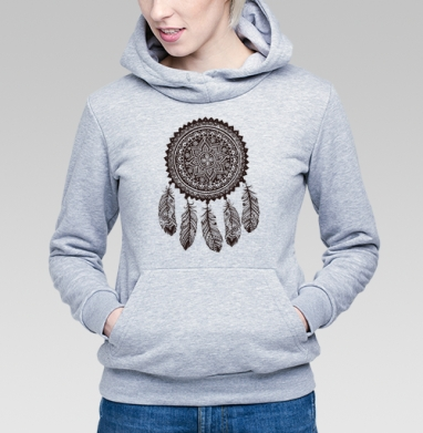 Ловец снов 2 - Толстовка Женская серый меланж 340гр, теплая, Купить толстовки победителей