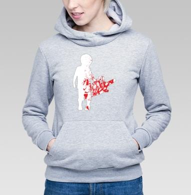 Толстовка Женская серый меланж 340гр, теплый - Мальчик с бензопилой