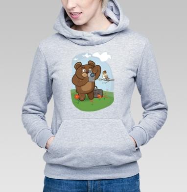 Медведь фотолюбитель  - Толстовки женские с мишками, худи с мишкой.