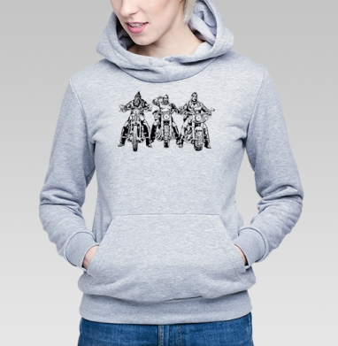 Три богатыря, Толстовка Женская серый меланж 340гр, теплая