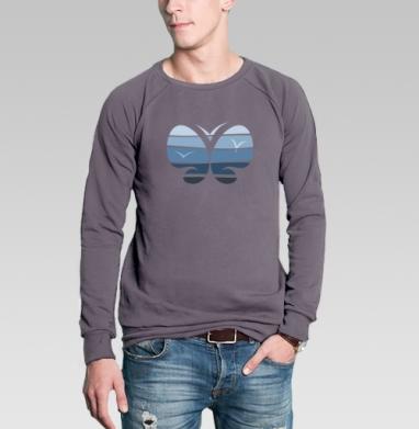 Свитшот мужской без капюшона тёмно-серый - Морская бабочка