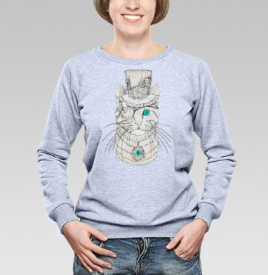 Стимпанк-Кот - Cвитшот женский, серый-меланж  320гр, стандарт, психоделика, Популярные