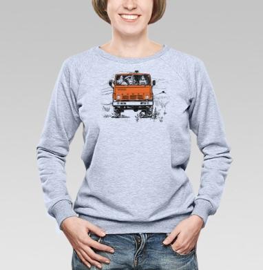 3 богатыря и Камаз - Купить женские свитшоты с автомобилями в Москве, цена женских свитшотов с автомобилями  с прикольными принтами - магазин дизайнерской одежды MaryJane