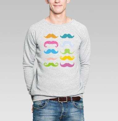 Свитшот мужской без капюшона серый меланж - Цветные усы