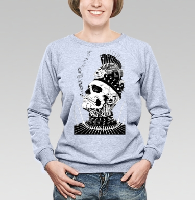 Ёрш - Cвитшот женский, серый-меланж  320гр, стандарт, психоделика, Популярные