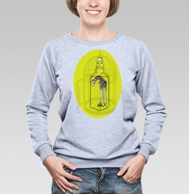 Cвитшот женский, толстовка без капюшона  серый меланж - Жираф и иллюзии
