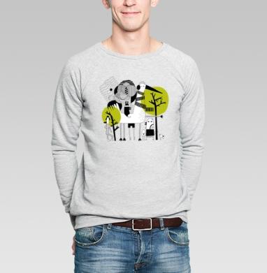 Прогулка - Купить мужские свитшоты абстрактные в Москве, цена мужских свитшотов абстрактных  с прикольными принтами - магазин дизайнерской одежды MaryJane