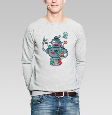 Робот с друзьями - Купить мужские свитшоты с роботами в Москве, цена мужских свитшотов с роботами с прикольными принтами - магазин дизайнерской одежды MaryJane