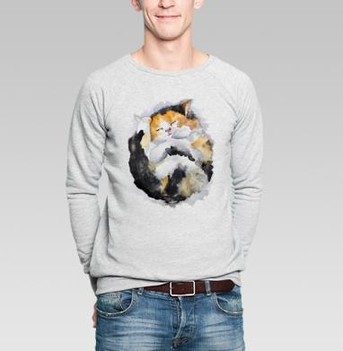 Спящий котёнок - Купить мужские свитшоты с акварелью в Москве, цена мужских  с акварелью  с прикольными принтами - магазин дизайнерской одежды MaryJane