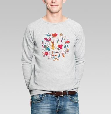 Веселые букашки - Купить мужские свитшоты с насекомыми в Москве, цена мужских свитшотов с насекомыми  с прикольными принтами - магазин дизайнерской одежды MaryJane