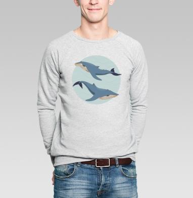 Blue whales - Купить мужские свитшоты морские  в Москве, цена мужских свитшотов морских   с прикольными принтами - магазин дизайнерской одежды MaryJane