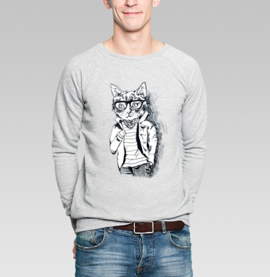 Котэ-хипстэ - Купить мужские свитшоты модные в Москве, цена мужских  модных  с прикольными принтами - магазин дизайнерской одежды MaryJane