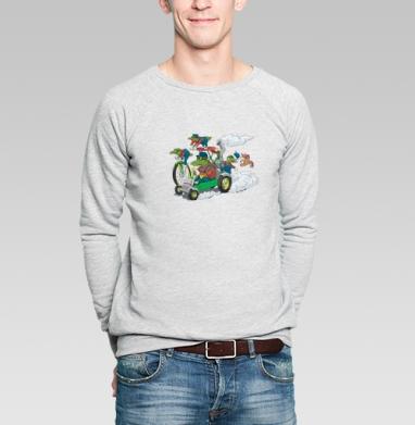 Крокодилы на прогулке - Купить мужские свитшоты с велосипедом в Москве, цена мужских  с велосипедом  с прикольными принтами - магазин дизайнерской одежды MaryJane