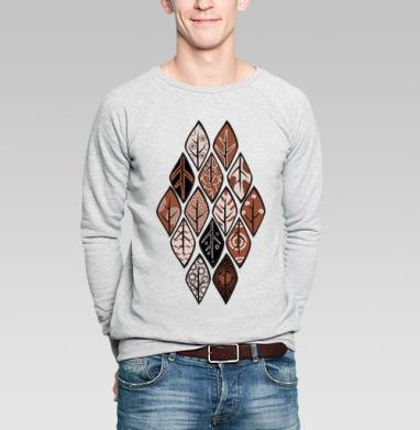 Листья Этно - Купить мужские свитшоты Текстуры в Москве, цена мужских свитшотов Текстуры с прикольными принтами - магазин дизайнерской одежды MaryJane