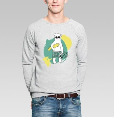 Медведь на пляже - Купить мужские свитшоты с солнцем в Москве, цена мужских свитшотов с солнцем  с прикольными принтами - магазин дизайнерской одежды MaryJane