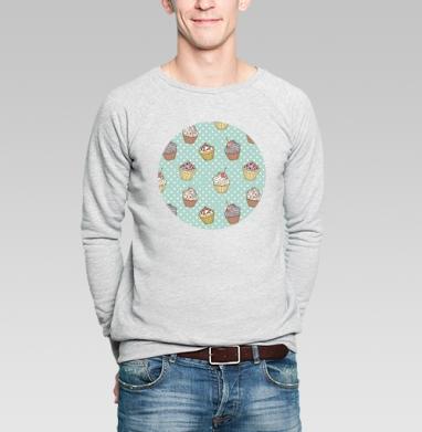 Retro cakes pattern - Купить мужские свитшоты сладости в Москве, цена мужских свитшотов со сладостями  с прикольными принтами - магазин дизайнерской одежды MaryJane