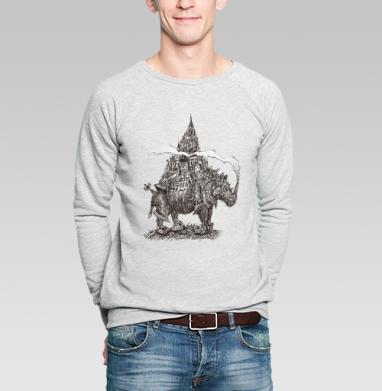 Урбанизированный носорог  - Купить мужские свитшоты с городами в Москве, цена мужских  с городами  с прикольными принтами - магазин дизайнерской одежды MaryJane