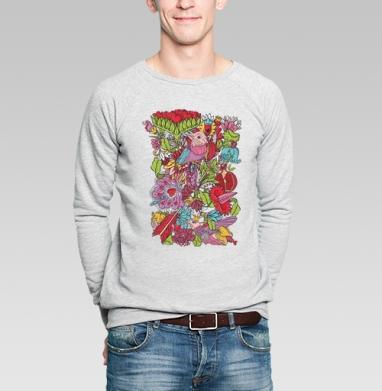 Vintage floral ornament  with humming bird - Купить мужские свитшоты винтажные в Москве, цена мужских  винтажных  с прикольными принтами - магазин дизайнерской одежды MaryJane