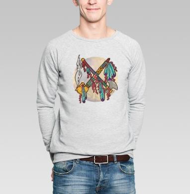 Война и Мир на индейский лад - Купить мужские свитшоты с дымом в Москве, цена мужских свитшотов с дымом  с прикольными принтами - магазин дизайнерской одежды MaryJane